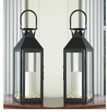 """2  Large 15"""" tall BLACK Candle holder Lantern Lamp terrace outdoor garden patio"""