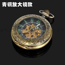 Steampunk Hollow Hand-Winding Vintage Bronze Men Mechanical Pocket Watch+Chain