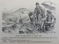 Bohemia Bohemian & Art THE ARTIST & THE SCOTTISH FARMER IN FIELD Antique Cartoon