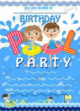 Birthday Invitations Swimming Pool Party/Swimming party/ Pool Party  x8 cards