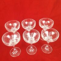 VORWERK CHAMPAGNE COUPE set of 6 clear with floral base