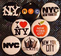 NYC x 8 NEW 1 inch pins buttons badge New York City I love big apple manhattan