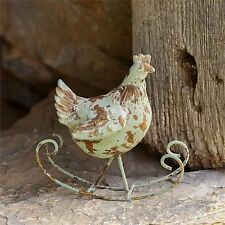 ROCKING CHICKEN Primitive Distressed Chicken Hen New Rustic Farmhouse