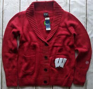 New Alma Mater Wisconsin Badgers XS S M L XL 2XL NCAA button cardigan sweater