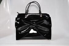 """Gabriella Rocha """"Claire"""" small purse with bow accent in black patent finish -New"""