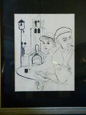 David Stone Martin Woman Praying Man Smoking Lithograph Signed Framed Lithograph