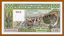 SPECIMEN West African States, Senegal, 500 Francs, 1990 P-706Ks UNC