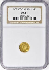 1849 Open Wreath Gold Dollar $1 NGC MS 61
