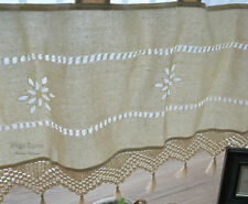 Ecru Hand Crochet Macrame Lace Kitchen Cafe Window Curtain Valance