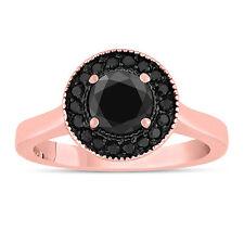 ENHANCED BLACK DIAMOND ENGAGEMENT RING 14K ROSE GOLD 1.00 CARAT HANDMADE HALO