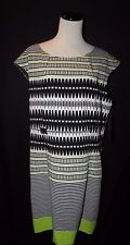 NWT ILE New York Women White Navy Blue Green Stripe Sheath Cap Slv Dress $79 16P
