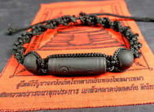 Buddha 'MALA' Blessed ALL BLACK BRACELET REAL LEK NAM PEE THAI MAGIC STEEL. B