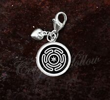 925 Sterling Silver Charm Hecate's wheel Strophalos Lunar Goddess