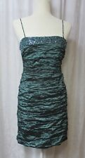 BCBG Max Azria Dress Womens Medium Ruched Sleeveless Sequined Blue Green Party