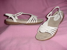 """White Leather T-Strap Casual Sandal """"Madison"""" by Easy Spirit 11M"""