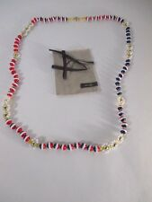LOT OF 6 Anthropologie Tri Color crystal Bead Flower knotted necklace NWOT 59