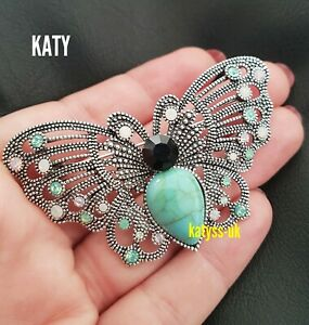Vintage Style Filigree Silver Tone Crystal  Butterfly Brooch Gift Broach Pin UK