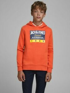 JACK & JONES Junior Kapuzenpullover Hoodie JORTonni orange Größe 128 bis 176