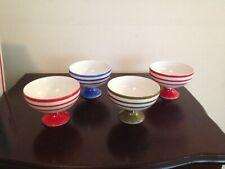 New listing Vintage Candy Stripe Desert Cups Lot Of 4 Red Orange Blue & Green