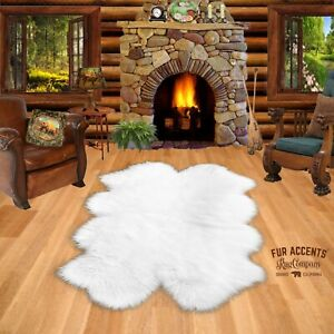 Soft Sheepskin Area Rug - Faux Fur - Quatro 4 Pelt Design - Black