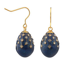 Faberge Egg Earrings with crystals 1.9 cm blue #2-1504-11