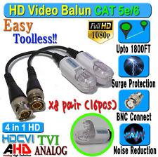 HD Balun 8 pairs 16pcs  CCTV BNC Video CAT5e 6 Surge Protect 1080P 720P 960H new