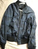Men's Zara Navy Camo Bomber Jacket size Small