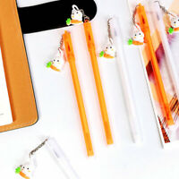 6pcs Cute Kawaii Rabbit Hanging Gel Ink Roller Ball Point Pen School Kids Pens