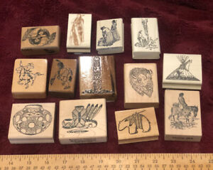 VINTAGE HUGE LOT NATIVE INDIAN CRAFT WOOD MOUNTED RUBBER STAMP TEEPEE POTTERY