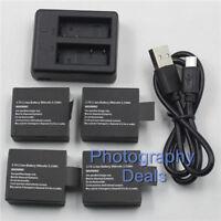 For SJCAM SJ4000 SJ5000 + X SJ6000 M10+ Camera 4x Battery + 1x USB Dual Charger