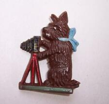 ORIGINAL Vintage ART DECO Celluloid SCOTTIE DOG With CAMERA BROOCH Pin