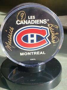 Maurice Richard autographed puck with stand and certificate of authenticity