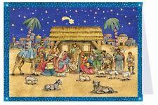 Mini Advent Calendar Christmas Card with Envelope - Traditional Nativity Scene