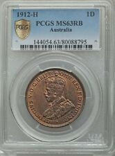 AUSTRALIA GEORGE V 1912-H PENNY COIN CHOICE UNCIRCULATED CERTIFIED PCGS MS-63-RB