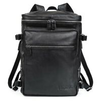 Men Real Leather Backpack 16'' Laptop Daypack Hiking Outdoor Travel School Bag