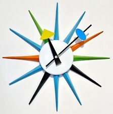 George Nelson Sunburst Wall Clock Replica, Mid Century Modern