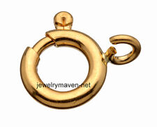 1x 6mm SOLID New 18k Yellow Gold Spring Ring Clasp with seamless OPEN Ring US