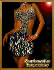 BLACK SILVER LATIN SEQUIN VEGAS SHOWGIRL DANCE DRESS
