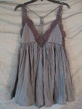 FREE PEOPLE slate color dress/long top ,size XS,crochet effect at neckline
