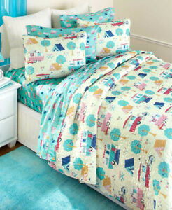 RV Happy Camper Quilt And Sheet Sets Shams Pillow Cases Machine Washable Bedding