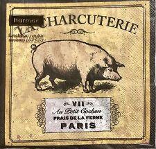 hARMAN pAPER Set of 20 Luncheon Paper Napkins - La Charcuterie Pig