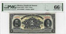 P-S1070 1915 1 Peso, Estado de Sonora, PMG 66EPQ GEM +