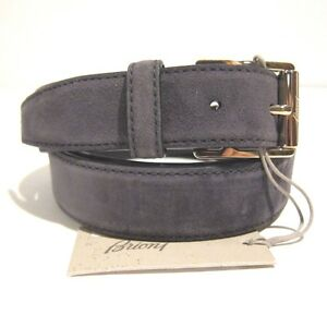 B-193047 New Brioni Gray Suede Leather Gold Buckle Belt Size 40 Fits Waist 38