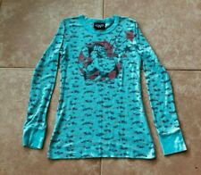 Junk Food Mighty Mouse Women's Long Sleeve Fl0ral Light Blue Long Sleeve Medium