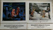 Lot of 2 M.J. Hummel Calendars 1995 2002 Advertising Weaver's Health Foods Pa