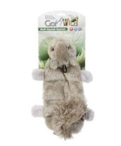 Gor Pets Wild Multi Squeak Squirrel Dog Toy   Unstuffed Flat 8 Squeaker Plush