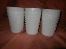 """3~ Anchor Hocking milk glass Hobnail tumblers excellent condition. 4.5"""" T"""