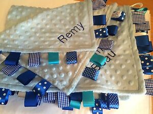 Luxury Baby Taggy Blanket-Moses/Crib/Pram/Cot,Blue,Pink,lilac Personalised