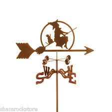 Flying Witch and Cat on Broom Weathervane - Halloween - with Choice of Mount