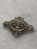 Antique Brooch Victorian Revival Greek Soldier Silver Plated Brass 1870s C Clasp